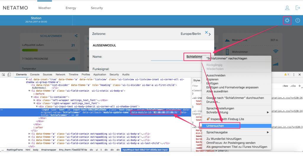 Netatmo Device-ID auslesen für KNX und EDOMI